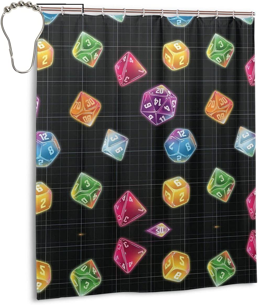 Tukiv Spa Shower Curtain Dungeons Dragons Master Dice Cloth Fabric Bathroom Decor Set with Hooks 60×72 Inche