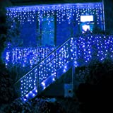 BUOCEANS® 216 LED 5 M LED cordes Guirlande lumineuse, Rideau lumineux, LED étoilées, décoration de Noël lumières de Noël Décoration Christmas intérieur et extérieur,Halloween Noël, Mariages,Bleu