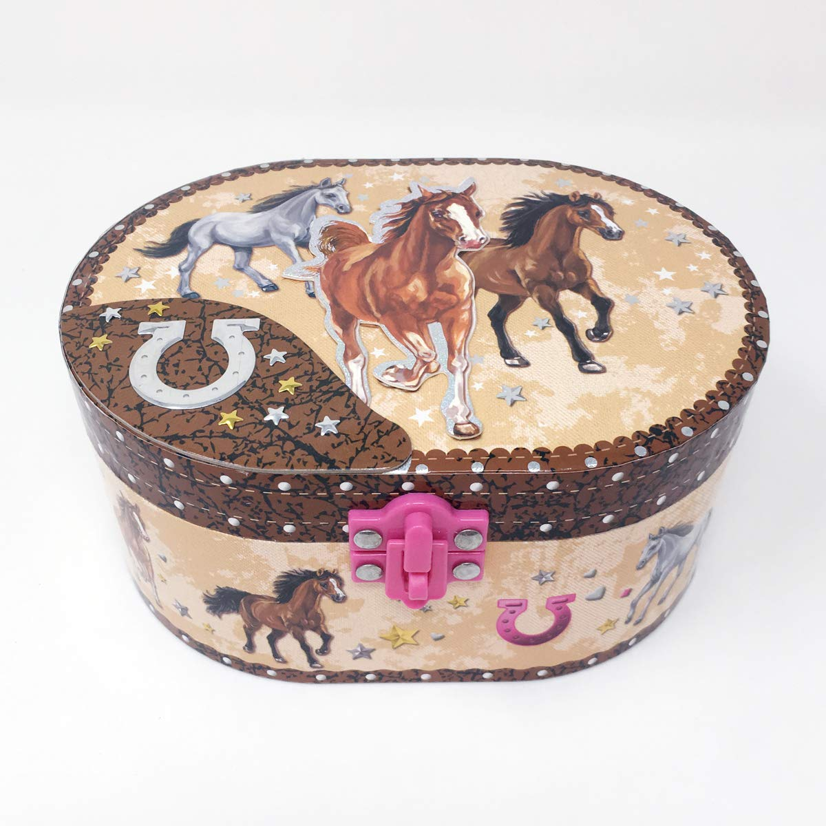 Horse oval shaped musical jewelry box