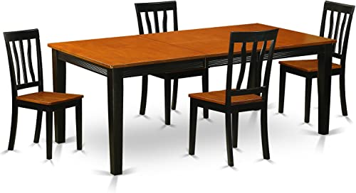 QUAN5-BCH-W 5 PC Dining set-Dining Table with 4 Wooden Dining Chairs
