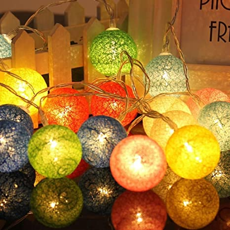 christmas ball string lights tree lights lantern cotton ball lamp98ft long led