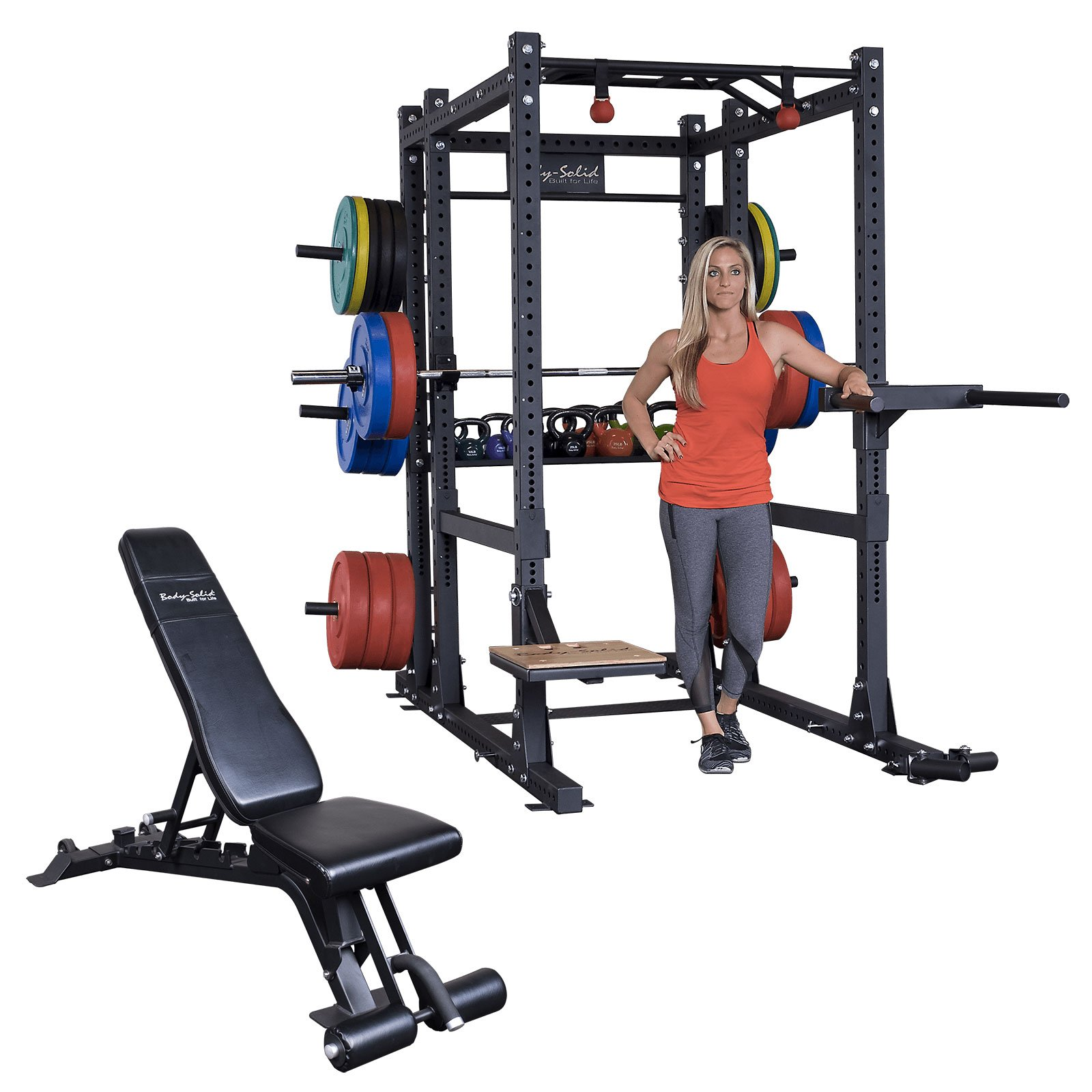 Body-Solid Power Rack SPR1000 and the rear Rack Extension with SFID425 Package - SPR1000BackP5
