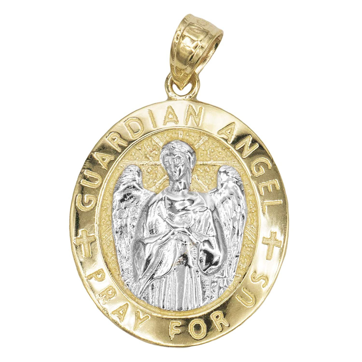 Ice on Fire Jewelry 14k Solid Gold Oval Guardian Angel Medal Necklace