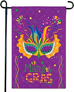 Fancy Land Mardi Gras Flag Mask Beads Feather Mardi Gras Decoration for Garden House 12 x 18 Inch Double Sides