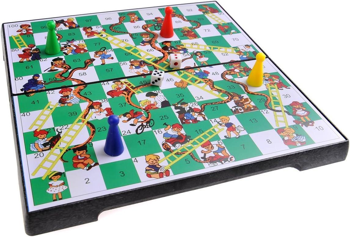 Quantum Abacus Juego de Mesa magnético (tamaño estándar): Serpientes y Escaleras - Piezas magnéticas, Tablero Plegable, 25cm x 25cm x 2cm, Mod. SC2630 (DE): Amazon.es: Juguetes y juegos