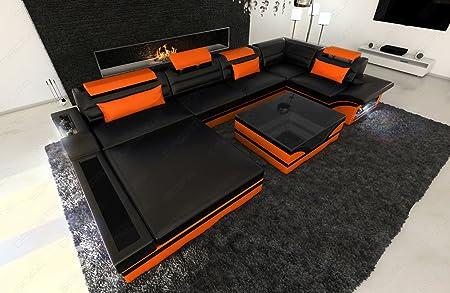 Sofa Dreams Leder Wohnlandschaft Mezzo Als U Form Mit Led