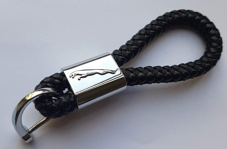 ELPCraft Jaguar Keyring Leaping Jaguar Jaguar - Black Leather Logo Alloy Chrome