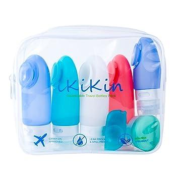 iKiKin 7pcs Botellas de Viajes de Silicona a Prueba de Fugas, sin BPA, Aprobado