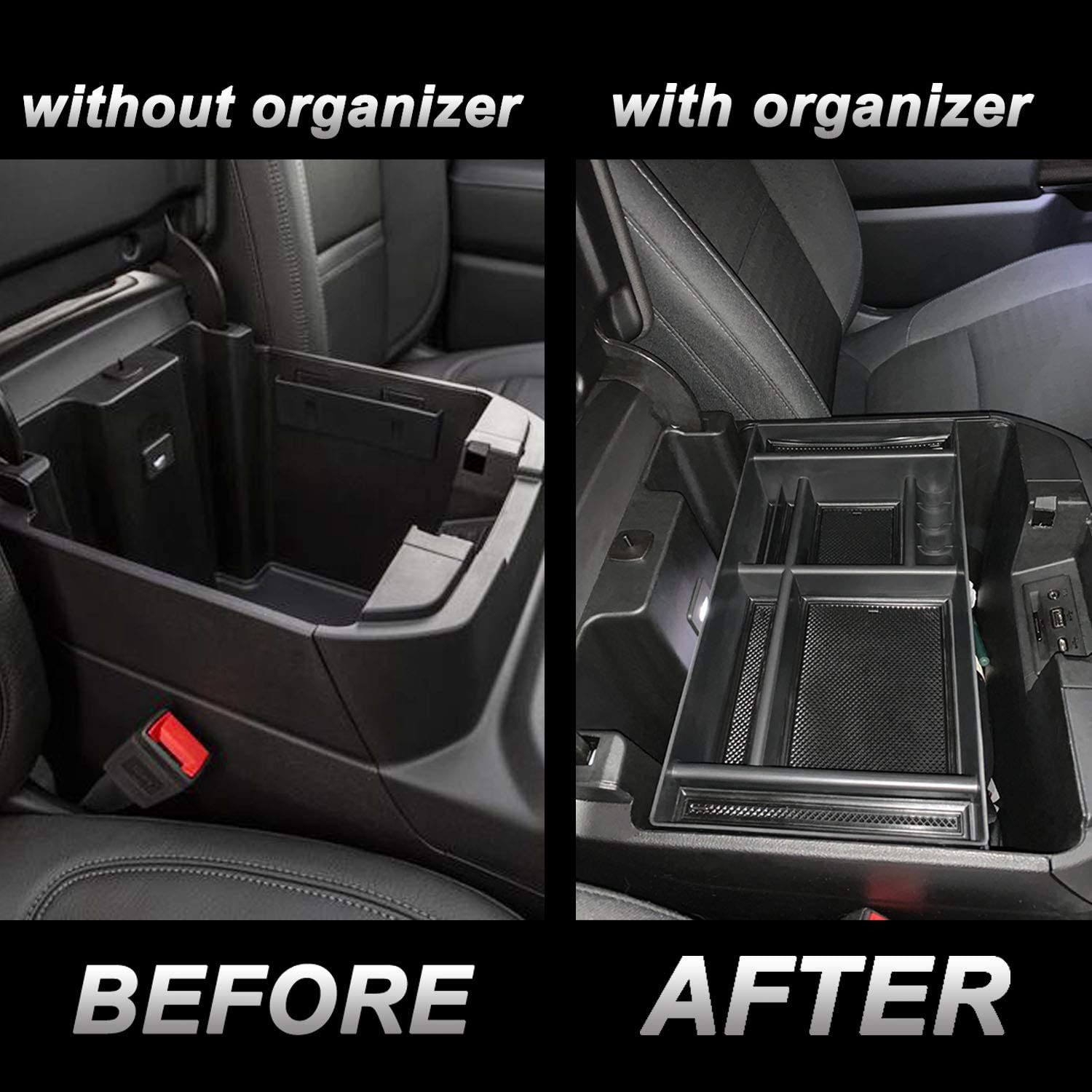 Full Console w//Bucket Seats ONLY Chevy Silverado 1500//GMC Sierra 1500 and 2020 Chevy Silverado//GMC Sierra 2500//3500 HD Accessories JKCOVER Center Console Organizer Tray Compatible with 2019-2020