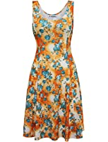 Tom's Ware Womens Stylish Floral Sleeveless Skater Dress