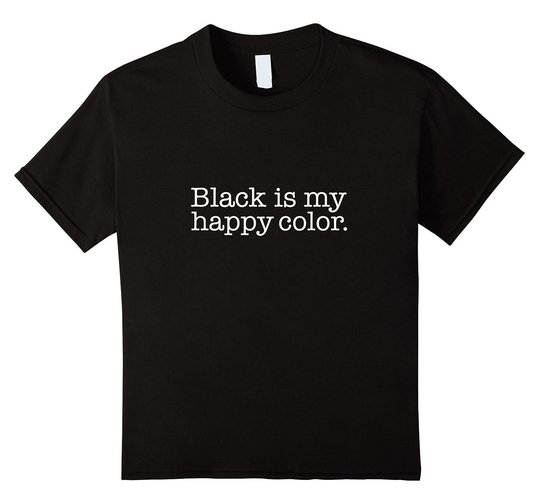 Womens Black happy T shirt Gothic-Teeae