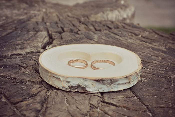 d282d1fcc4 Amazon.com: Rustic Wood Ring Holder - Birch Wedding Ring Bearer Pillow - Wood  Ring Box: Handmade