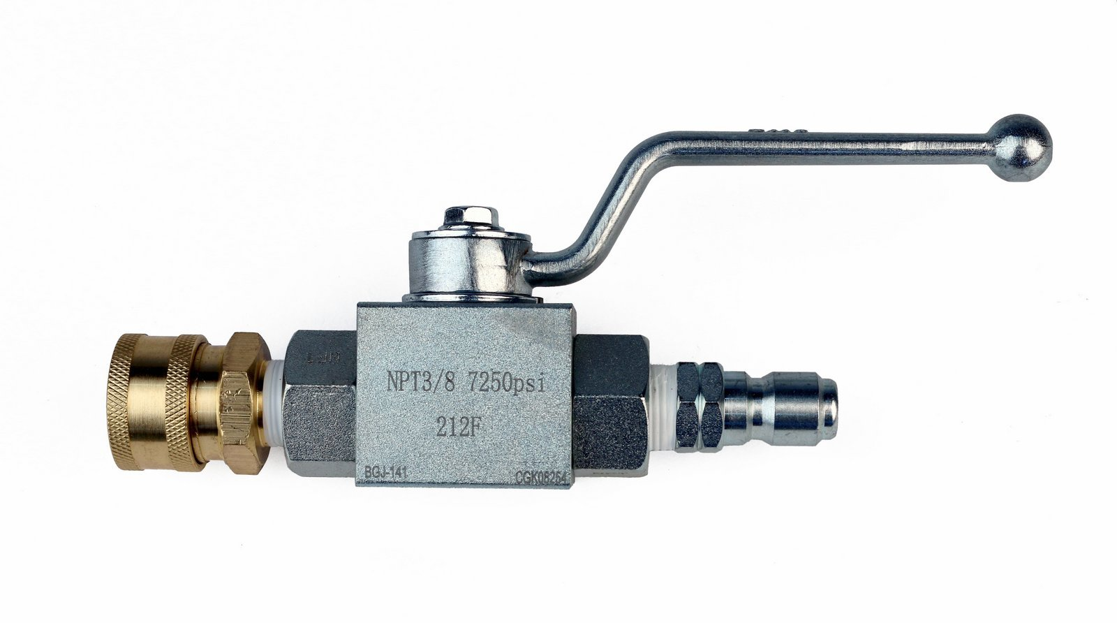 High Pressure Ball Valve Kit 3/8'' Male Plug X 3/8'' Female Quick Connect 4000PSI for High Pressure Hoses by Raptor Blast (Image #3)