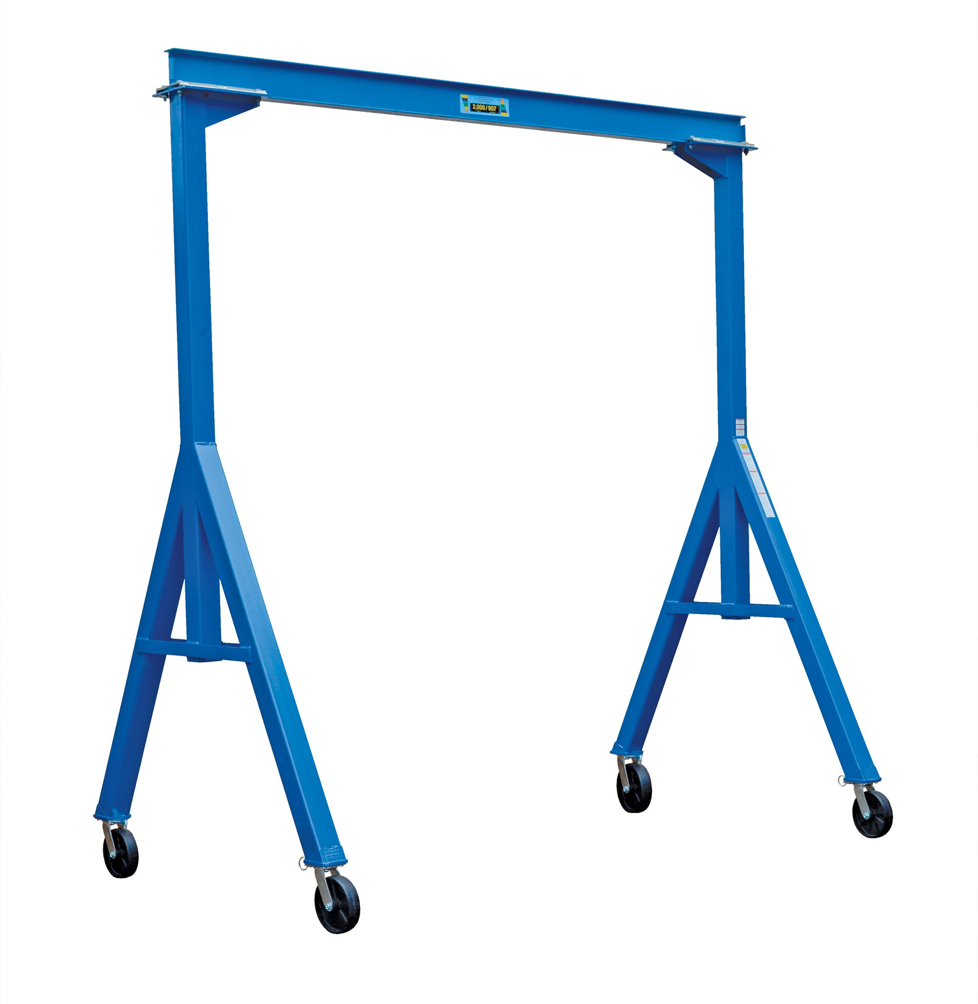 Vestil FHS-2-10 Fixed Height Steel Gantry Crane, 2000 lbs Capacity, 10' Length x 6'' Height Beam