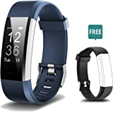 Fitness Tracker, Activity Tracker Fitness Watch with Heart Rate Monitor ,Step Counter, GPS Tracker, Waterproof Smart Bracelet Pedometer Wristband with Replacement Band for iOS & Android (Blue+Black)