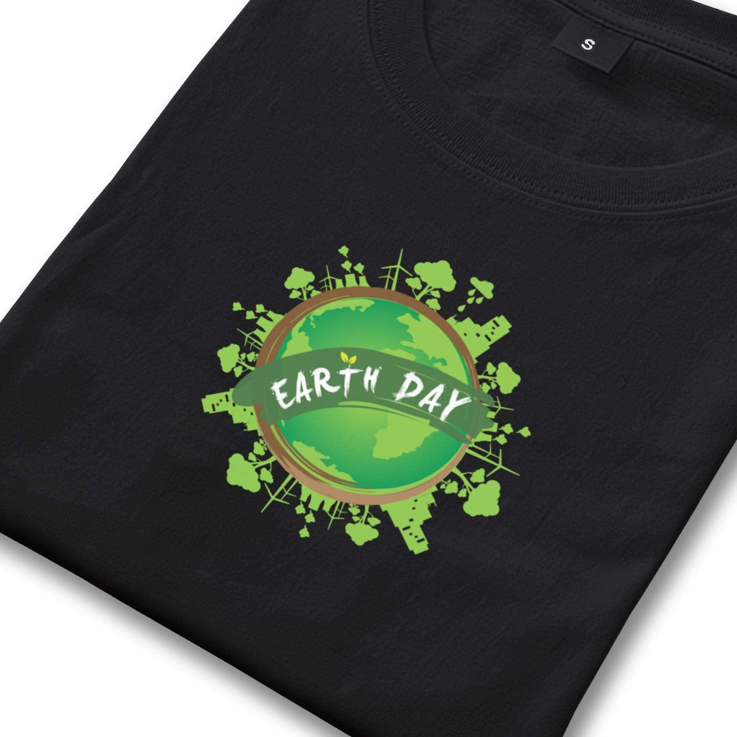 Mens Happy Earth Day Round Neck T-Shirts,Summer Casual Short Sleeve Tee