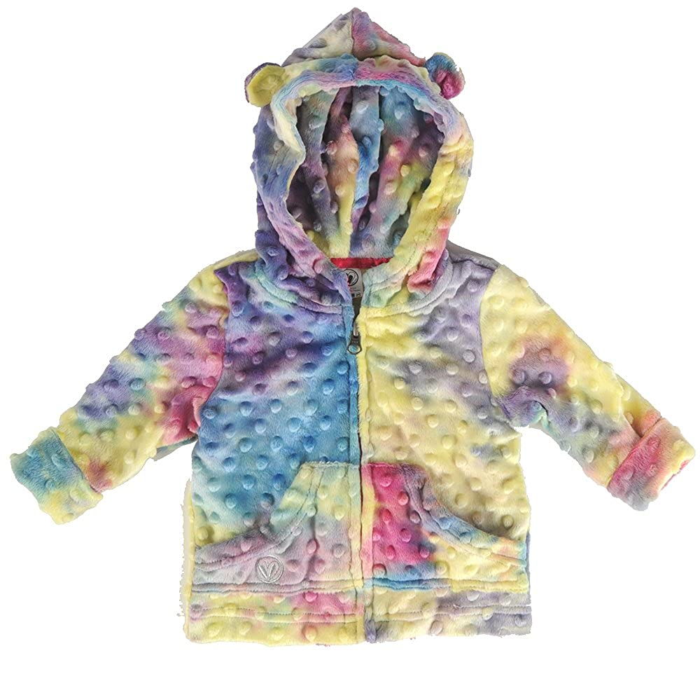 Little Lime Baby~Toddler Girls Luxuriously Soft Rainbow Hoodie w//Bear Ears