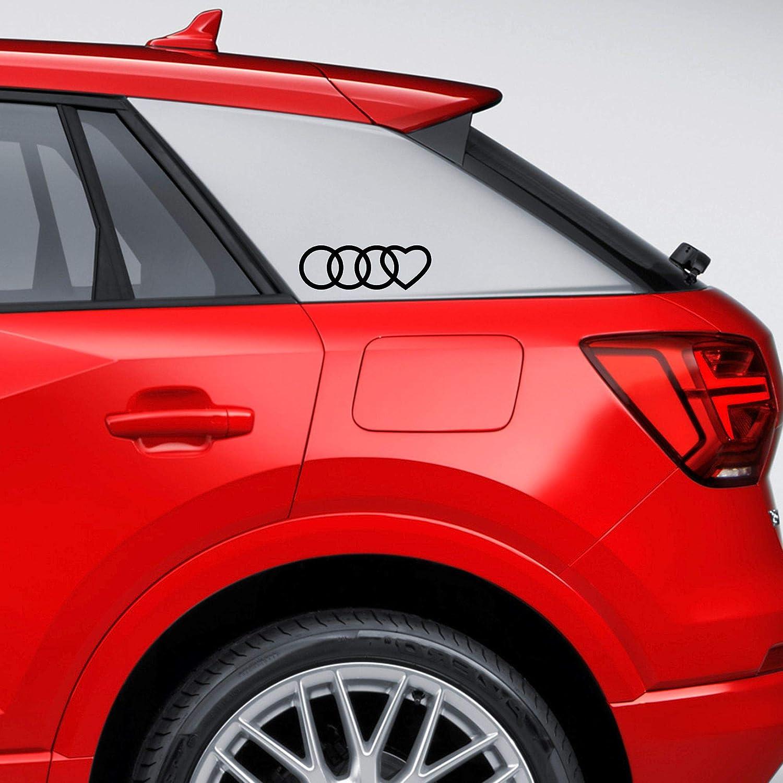 Autodomy Kompatibel Mit Audi Reifen Herz Aufkleber Paket 2 Stück Für Auto Schwarz Auto