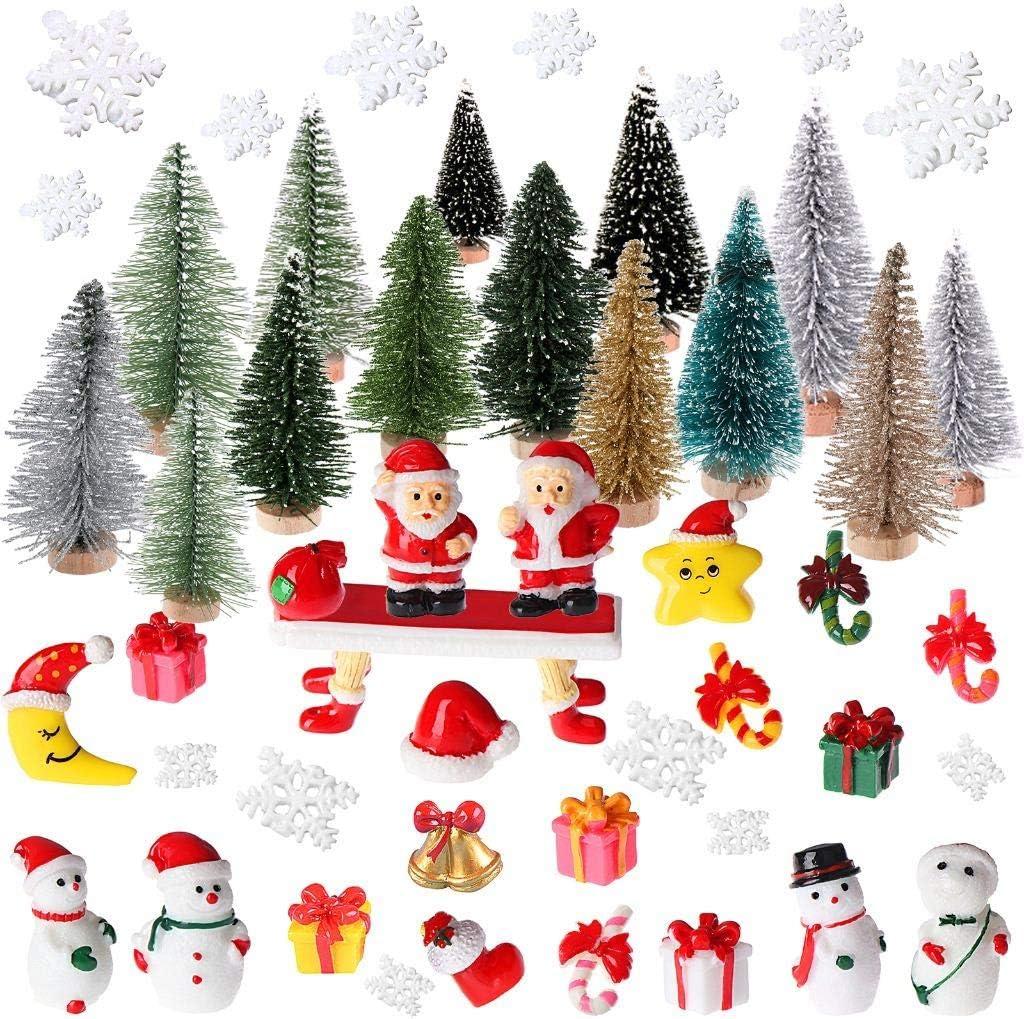 50Pcs Christmas Mini Ornaments Kits, Miniature Christmas Tree Ornaments, Santa Claus, Snowman, Tabletop Trees Ornaments Set Dollhouse Landscape for Christmas Decoration Ornaments Winter Decoration