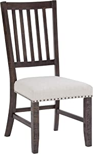 Jofran Inc. Willow Creek Solid Pine Upholstered Slatback (Set of 2) Dining Chair, Cream Fabric and Brown Legs