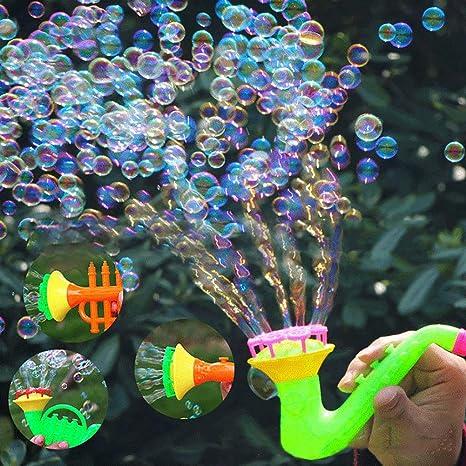 0Miaxudh Blow Bubbles Toy, creativo Multi-Hole Trompeta Agua ...