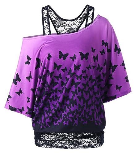 LemonGirl Women's Lace Off-Shoulder Shirts Blouse Tops