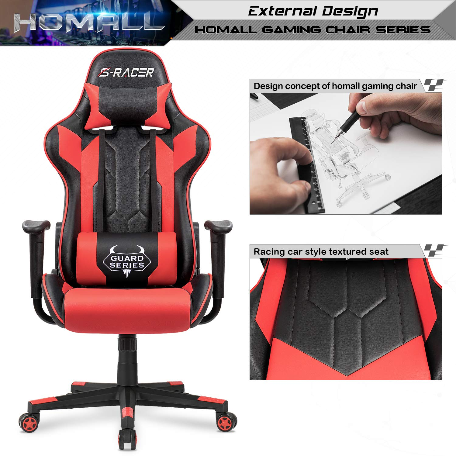 Homall Executive Swivel Leather Gaming Chair, Racing Style High Back Chair with Lumbar Support and Headrest (NSR/Red) by Homall (Image #4)