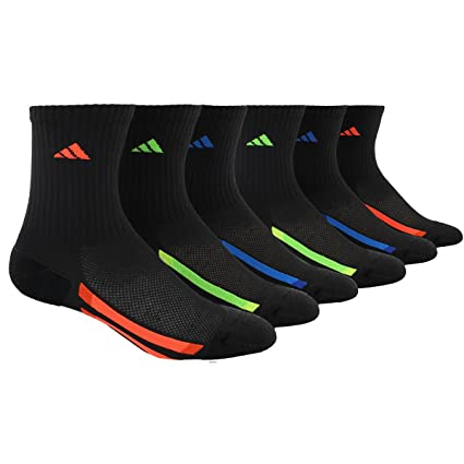 in stock 741b2 a7be9 adidas Mens Vertical Stripe Crew Socks (6 Pack), BlackRedBold