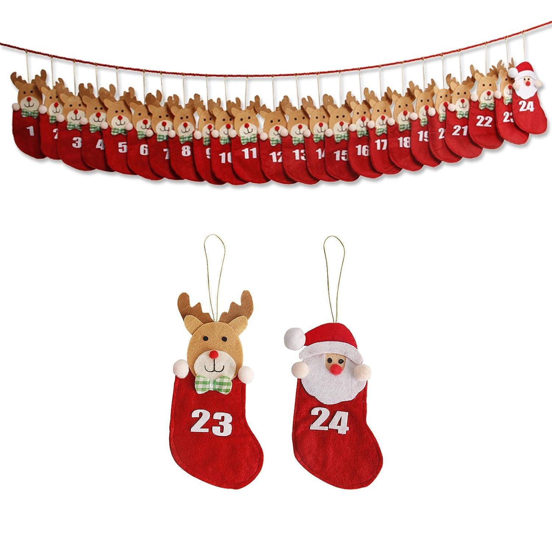 Yorbay - Calendario dell'Avvento da riempire per Natale (Rosso in Sacchetti) O07A