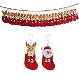 Yorbay Adventskalender zum selbst befüllen für Weihnachten (Rot in Säckchen Form)