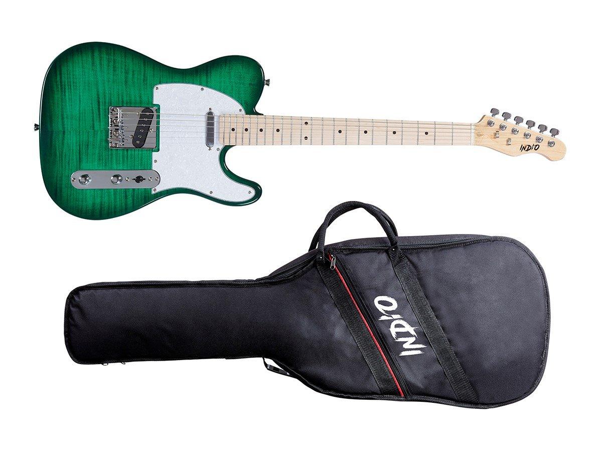 Monoprice Indio Retro DLX - Guitarra eléctrica con bolsa de transporte, color verde: Amazon.es: Instrumentos musicales