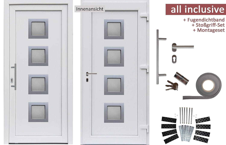 kuporta Kunststoff Haust/ür Modena T/üren 108 x 200 cm DIN rechts au/ßen wei/ß//innen wei/ß mit Sto/ßgriff-Set Montageset Fugendichtband