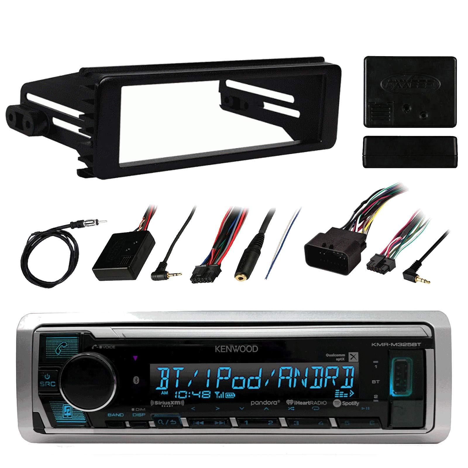 Kenwood Marine Digital Media Bluetooth Receiver, Metra Steering Wheel Interface, Antenna - 40'', 1998-2013 Harley Davidson Single-DIN Stereo Installation Kit