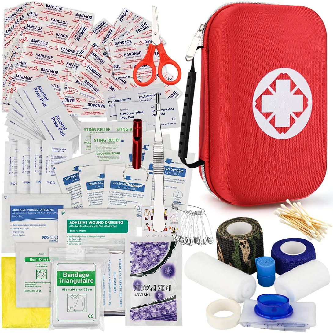 First Aid Kits 202Pcs,Small First Aid Kit for Car,Home,Travel,Camping, Hiking, Hunting,Backpacking, Outdoor Sports or Office|Professional Medical First Aid Supplies with Compact Red Case