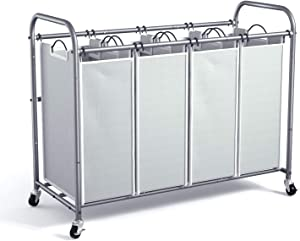 ROMOON 4 Bag Laundry Sorter Cart, Laundry Hamper Sorter with Heavy Duty Rolling Wheels for Clothes Storage, Grey