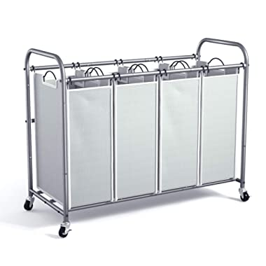 WeHome 4 Bag Laundry Sorter Cart, Laundry Hamper Sorter with Heavy Duty Rolling Wheels for Clothes Storage, Grey