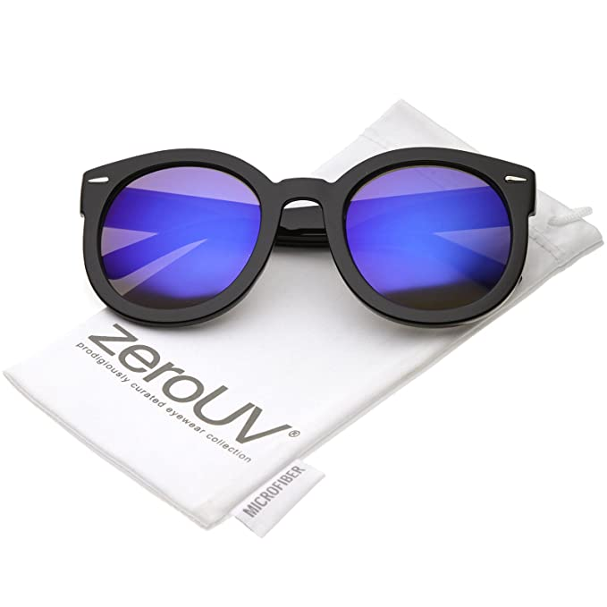 zeroUV - Womens Retro Oversized Round Sunglasses with Colored Mirror Lens 53mm (Black/Blue Mirror)