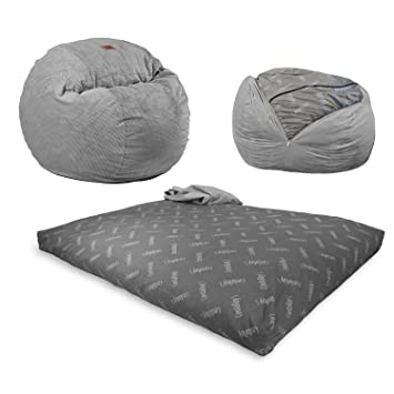 CordaRoys Chenille Bean Bag Chair Charcoal Queen