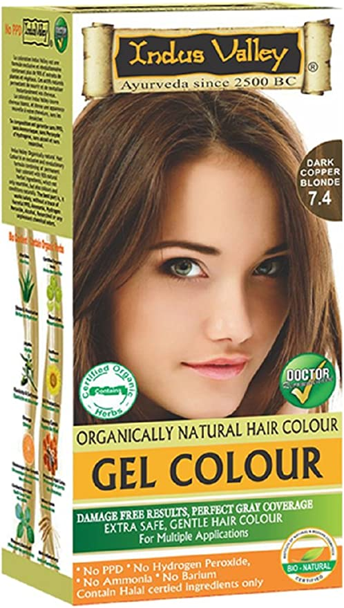 Indus Valley Oscuro Cobre Rubia Gel Cabello Tinte Kit De Colorante 7,4