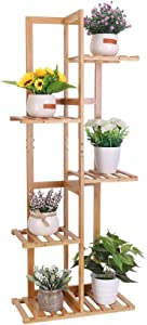 unho 5 Tier Plant Stand Bamboo Garden Flower Pot Shelf 6 Potted Balcony Plant Rack Wood Succulent Display Holder Indoor for Patio Corner Yard condo