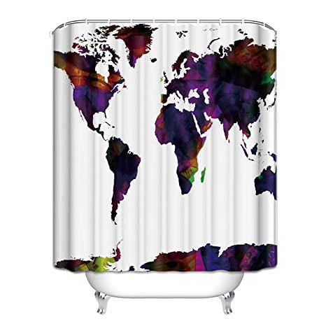 Amazon Com Crystal Emotion Abstract Art World Map Shower Curtain