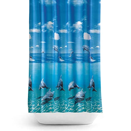 Beautiful Extra Long Shower Curtain Wide 240cm X Length 200cm Rings Included Dolphin