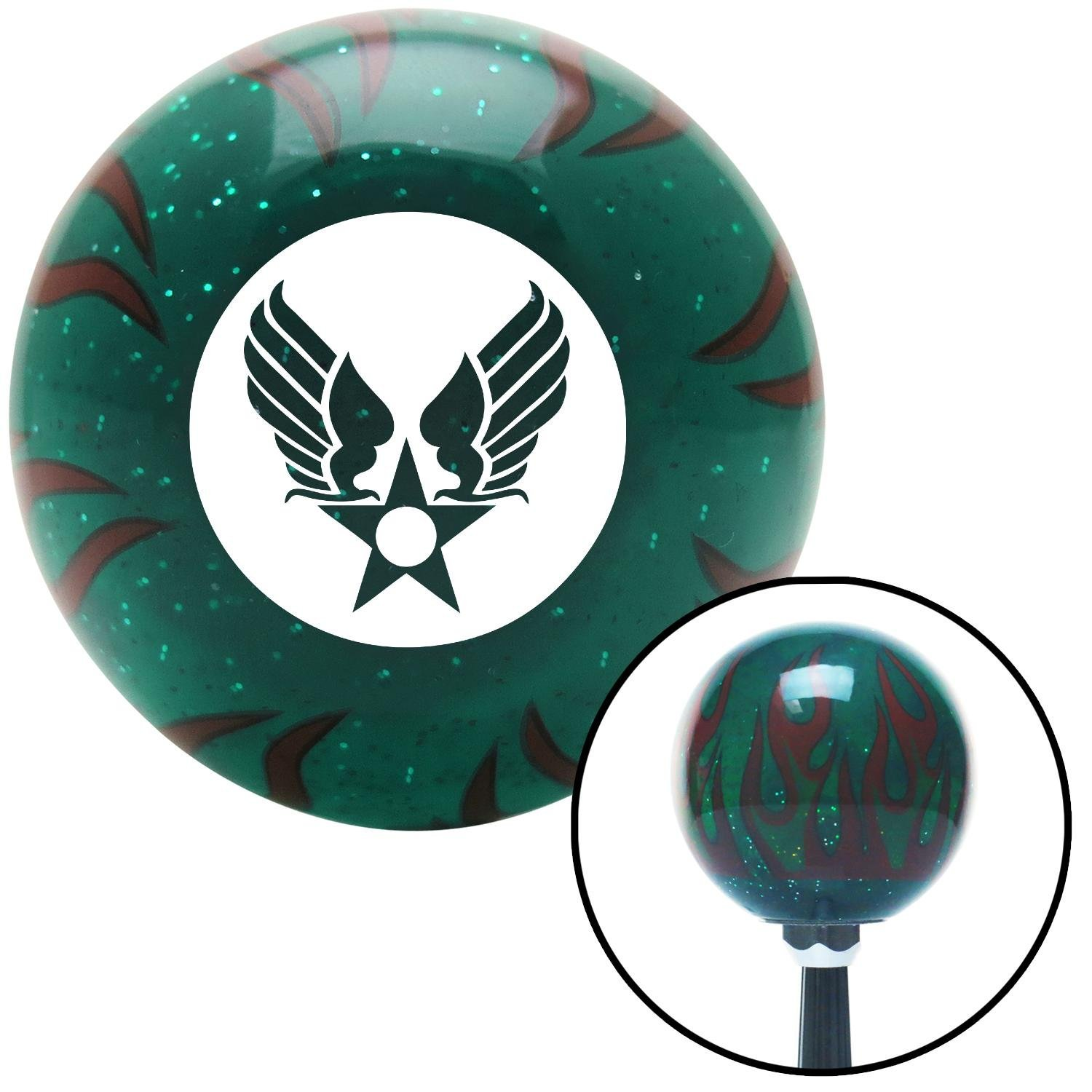 American Shifter 262752 Green Flame Metal Flake Shift Knob with M16 x 1.5 Insert White Army Air Corps