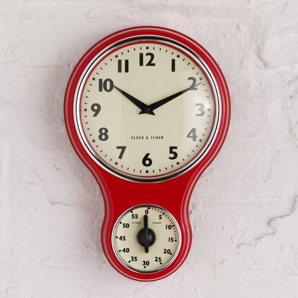 Retro Vintage Kitchen Wall Clock, Timer, Round Home Decor ...