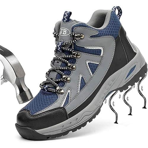 SUADEEX Mujer Hombre Zapatillas de Seguridad con Puntera de Acero Zapatos de Trabajo Entrenador Unisex Zapatillas de Senderismo Zapatillas de Trekking ...