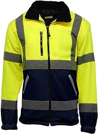 StandSafe Veste de travail doublée polaire haute visibilité pour homme 100 % polyester