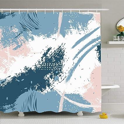Modern Blue Dot Decor Fabric Shower Curtain for Bathroom