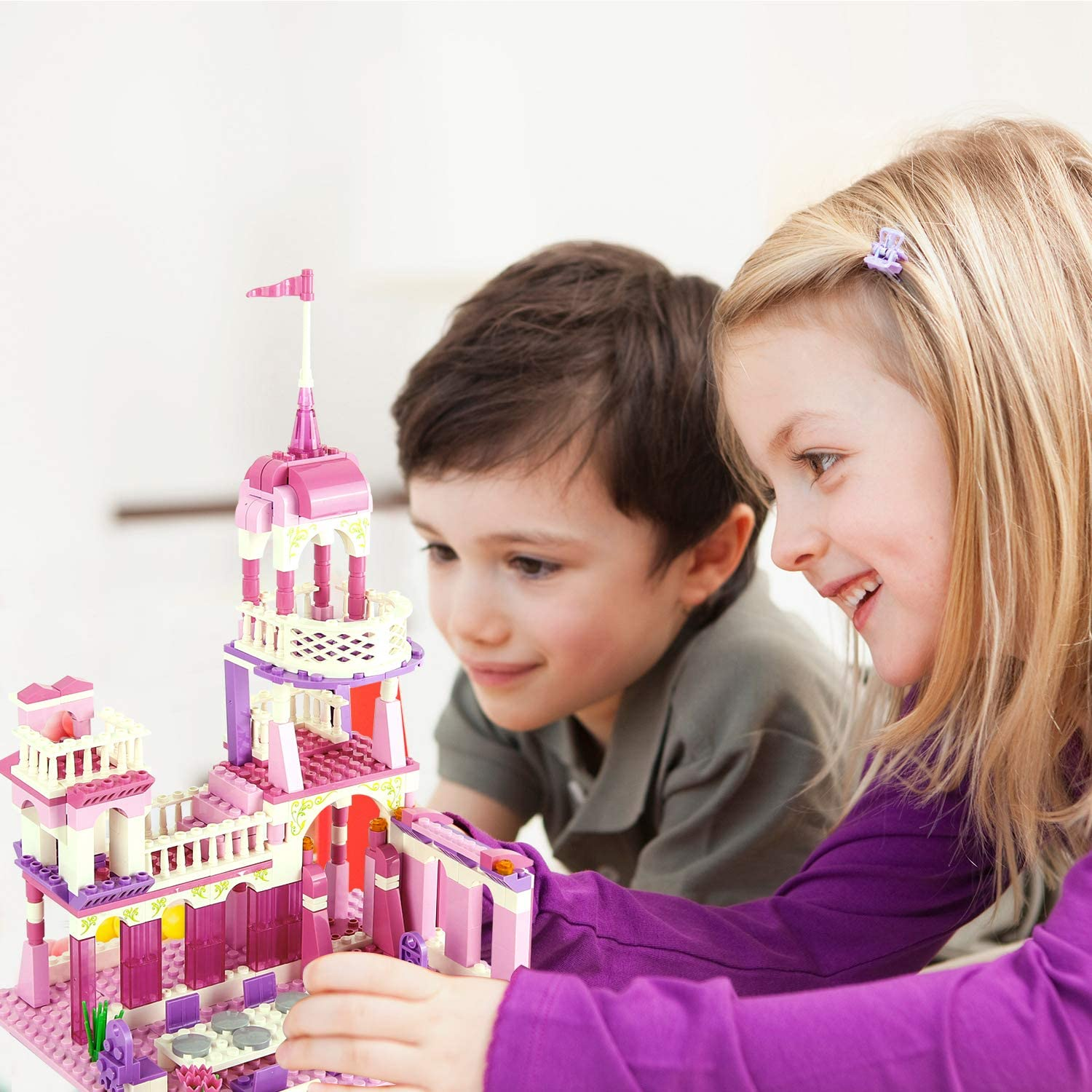 Milestar Girls Building Blocks Toys Pink Palace for Girls 6-12 Construction Play Set Princess Castle Educational Toys 254 Pieces for Boys Girls