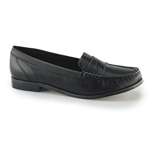 118ec33bb58 Comfort Plus Michaela Ladies Leather Wide Fit Loafer Shoes Black UK ...