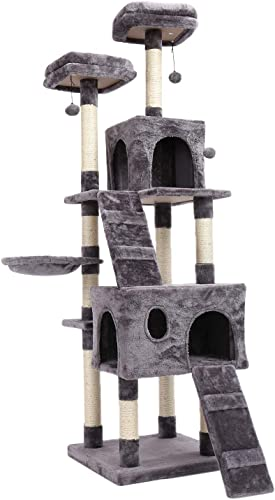 PAWZ Road 69 Inches Cat Tree with 2 Condos and 2 Perches, Kitty Climber Tower Furniture, Upgraded Version